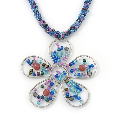 Blue/ Pink Glass Bead Flower Pendant Necklace - 40cm Length