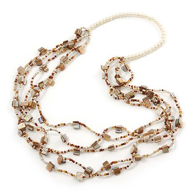 Long Multistrand Antique White/Amber Shell/ Glass Bead Necklace - 86cm Length
