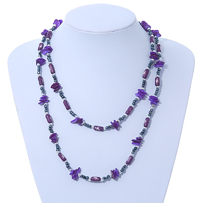 Long Purple Shell &amp; Hematite Bead Long Necklace - 106cm Length
