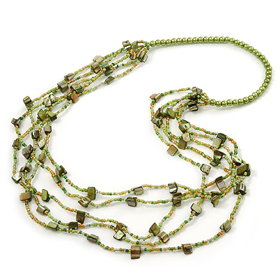 Long Multistrand Lime Green/ Olive Shell/ Glass Bead Necklace - 80cm Length