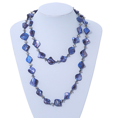 Long Violet Blue Shell & Metal Bead Necklace - 110cm Length