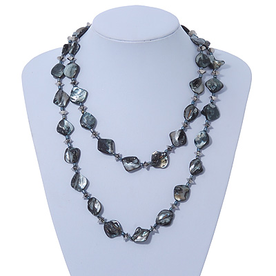 Long Black/ Grey Shell &amp; Metal Bead Necklace - 110cm Length