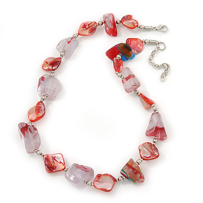 Chunky Transparent Resin/ Red Shell Nugget Necklace In Silver Tone - 44cm Length/ 5cm Extension