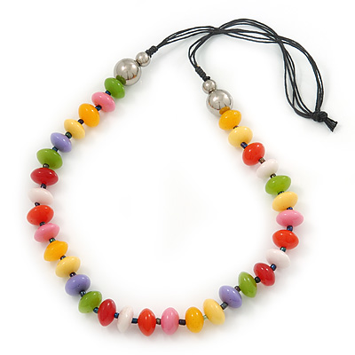 Multicoloured Resin 'Button' Beaded Black Cotton Cord Necklace - 76cm Length