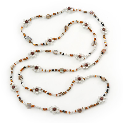 Long White/ Amber Glass Bead Floral Necklace - 130cm Length