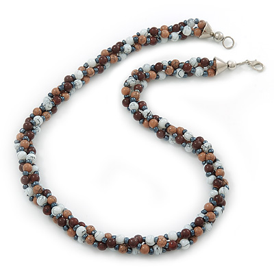 Beige/ Brown/ White Ceramic Bead Twisted Necklace In Silver Tone - 52cm Length