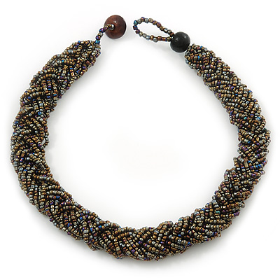 Chunky Braided Peacock/ Metallic Bronze Glass Bead Choker Necklace - 40cm Length