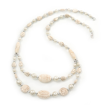 Long Antique White Ceramic, Simulated Pearl Glass, Metal Bead Necklace In Rhodium Plating - 72cm Length