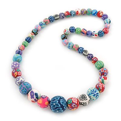 Multicoloured Floral Fimo Bead Flex Necklace - 42cm Length