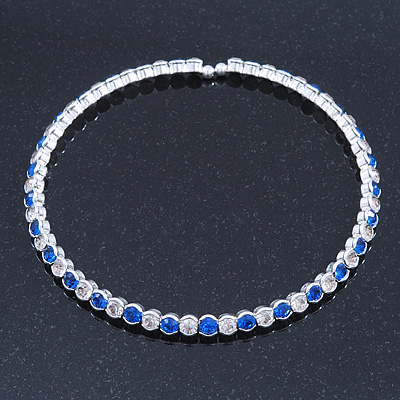 Silver Plated Clear/ Sapphire Blue Coloured Austrian Flex Choker Necklace