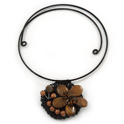 Brown Ceramic, Simulated Pearl 'Flower' Pendant Wired Choker Necklace - Adjustable