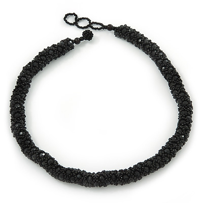 Chunky Black Glass, Acrylic Bead Choker Necklace - 38cm Length/ 2cm Extension