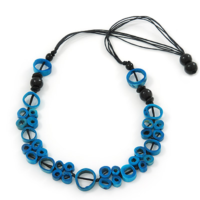 Unique Turquoise Blue Bone Bead Black Cotton Cord Necklace - 66cm Length