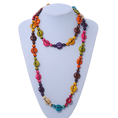 Long Multicoloured Wood 'Button' Necklace - 120cm Length
