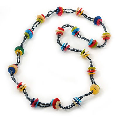 Long Multicoloured Acrylic 'Button' Necklace - 80cm Length