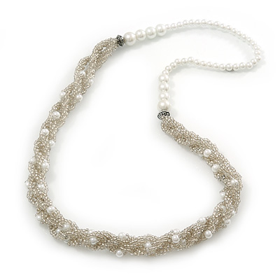 White Simulated Glass Pearl & Transparent Glass Bead Twisted Necklace - 66cm Length