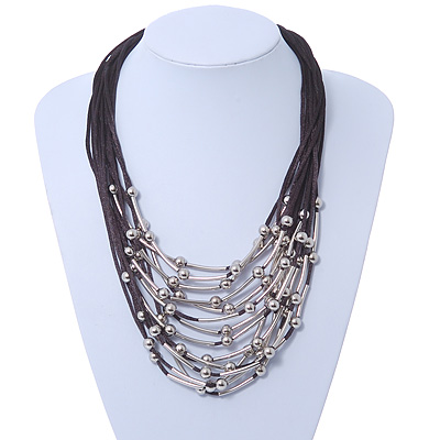 Multistrand, Layered Silver Beads & Bars Black Silk Cord Necklace - 60cm Length