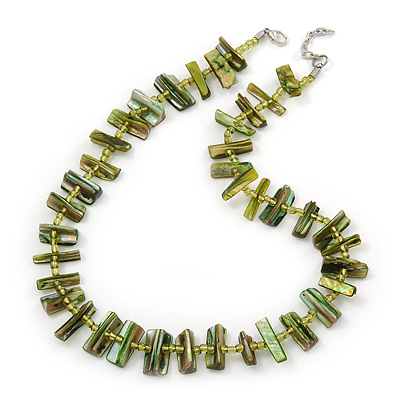 Olive Green Shell Nugget & Small Glass Bead Necklace In Silver Tone - 52cm Length/ 4cm Extension