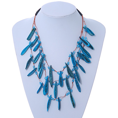 3 Strand Bone Nugget & Glass Bead Layered Necklace (Teal Blue) - 60cm Length