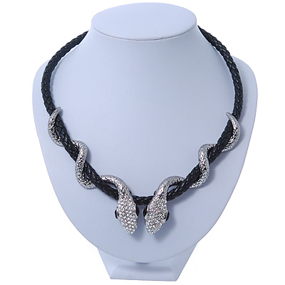 Austrian Crystal 'Double Snake' Black Leather Cord Necklace In Rhodium Plating - 46cm Length/ 8cm Extension