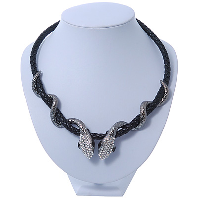 Swarovski Crystal 'Double Snake' Black Leather Cord Necklace In Gun Tone Metal - 46cm Length/ 8cm Extension
