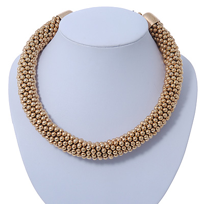 Chunky Mesh Choker Necklace In Gold Plating - 38cm Length/ 4cm Extension
