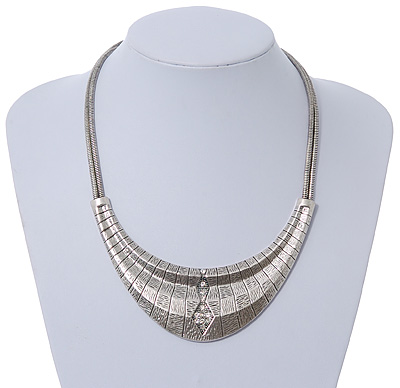 Ethnic Etched Bib Style Necklace In Silver Tone - 38cm Length/ 8cm Extension