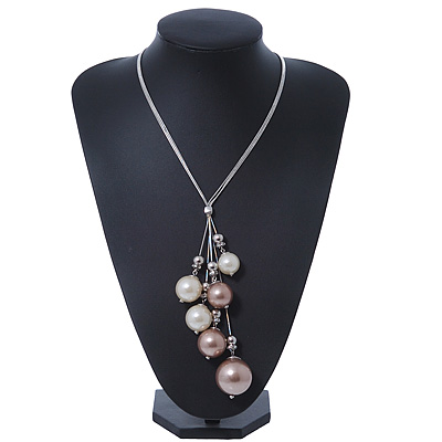 Rhodium Plated Snake Chains Necklace With Long Glass Pearl Tassel - 60cm Length/ 7cm Extension