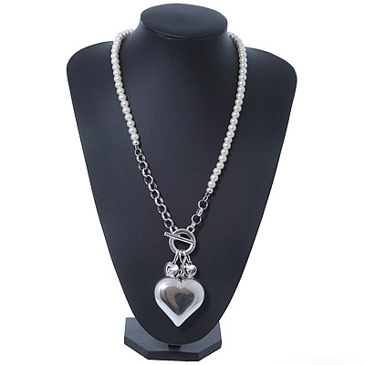 Long Glass Pearl Puffed Heart Pendant Necklace With T-Bar Closure In Rhodium Plating - 72cm Length