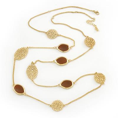Avalaya Long Stylish White Enamel Flower Necklace In Gold Plating - 132cm Length XDdAvv