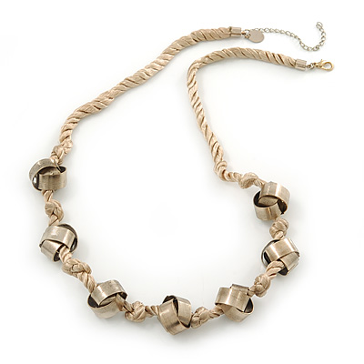 Long Metal Ball On Beige Silk Cord Necklace - 72cm Length/ 7cm Extension