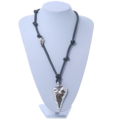 Long Grey Leather Cord Necklace With Contemporary Heart Pendant In Rhodium Plating - 80cm Length