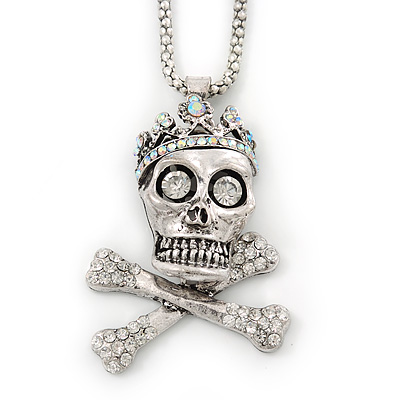 Clear, AB Crystal 'Skull & Bones In The Crown' Pendant With Long Silver Tone Mesh Chain - 70cm Length