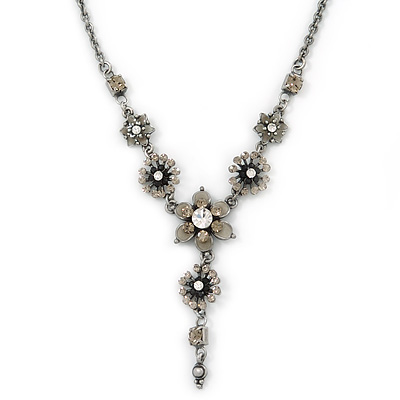 Vintage Inspired Grey Enamel, Crystal Floral V-Shape Necklace In Pewter Tone Metal - 38cm Length/ 6cm Extension