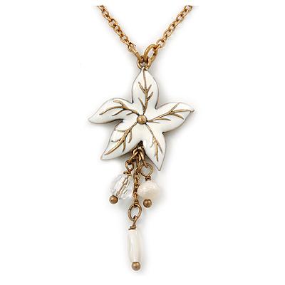 White Enamel 'Flower' With Beaded Tassel Pendant On Antique Gold Chain - 36cm Length/ 8cm Extension