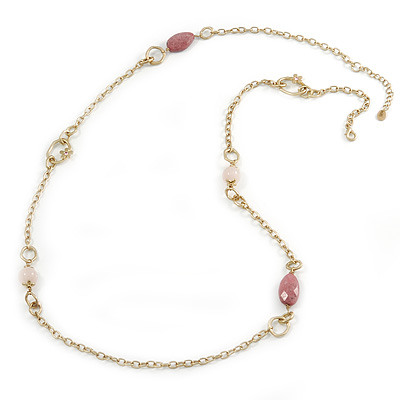 Vintage Inspired Chunky Link Chain with Rose Quarz and Plastic Beads Necklace - 102cm L/ 7cm Ext
