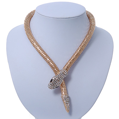 Gold Plated Swarovski Crystal 'Snake' Magnetic Necklace - 43cm Length