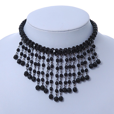 Chic Victorian/ Gothic/ Burlesque Black Bead Bib Style Choker Necklace - 28cm Length/ 8cm Extension
