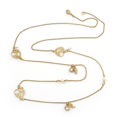 Vintage Inspired Heart, Freshwater Pearl, Flower Long Chain Necklace - 86cm Length