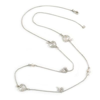 Vintage Inspired Heart, Freshwater Pearl, Flower Long Chain Necklace in Light Matt Silver Tone - 90cm L