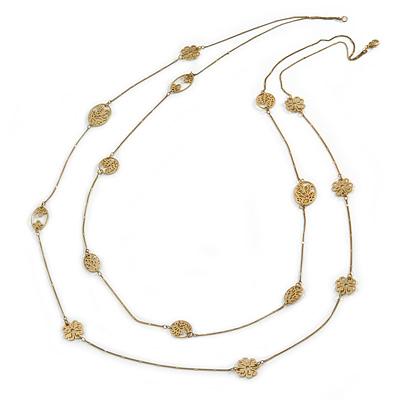 Long 2 Strand Matt Gold Floral Necklace - 98cm L - main view