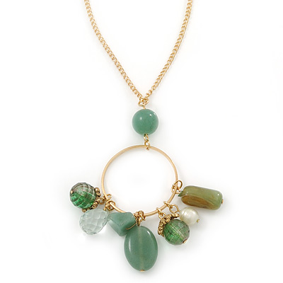 Green/ Olive Semiprecious Stone Charm Pendant With 50cm L/ 7cm Ext Gold Tone Chain