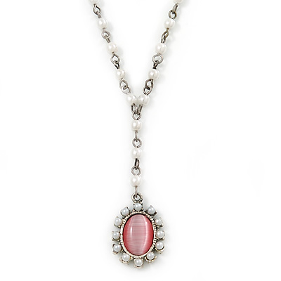 White Faux Pearl Y-Shape Necklace With Pink Cat Eye Oval Pendant In Silver Tone - 38cm L/ 8cm Ext