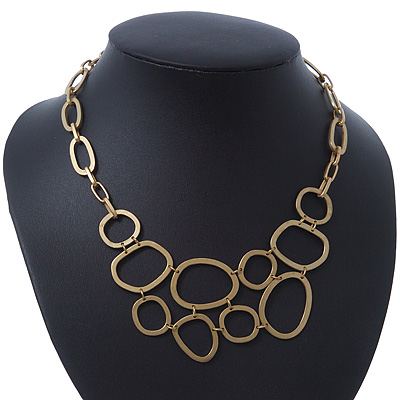 Matt Gold Oval Link, Geometric Necklace - 36cm L/ 5cm Ext