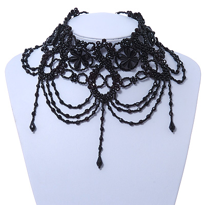 Statement Victorian/ Gothic/ Burlesque Black Acrylic, Glass Bead Choker Necklace - 25cm Length/ 7cm Extension