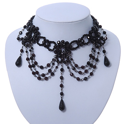 Chic Victorian/ Gothic/ Burlesque Black Acrylic Bead Bib Choker Necklace - 29cm Length/ 6cm Extension