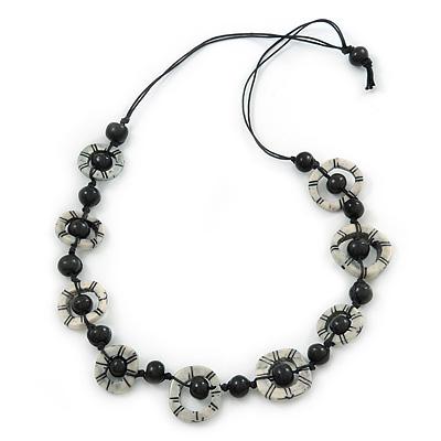 Black/ White Bone, Wood Bead Cotton Cord Necklace - 70cm L