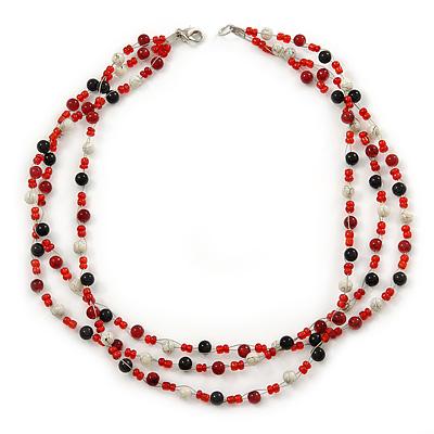 3 Strand Red, Black, White Ceramic & Glass Bead Necklace In Silver Tone - 46cm L