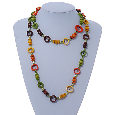 Long Multicoloured Wood Bead & Bone Ring Necklace - 108cm L