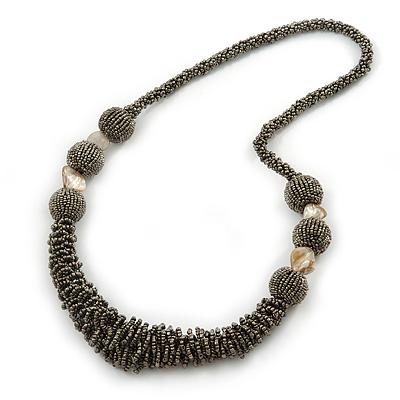 Avalaya Antique White Glass Bead Chunky Necklace 0B5DJ